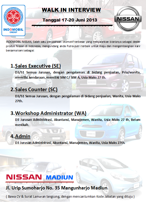 Walk In Interview Nissan Madiun Juni 2013